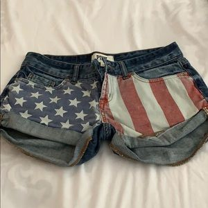 Pink USA flag shorts